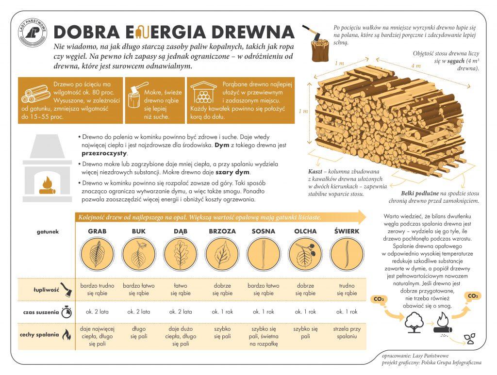 dobra energia drewna - infografika